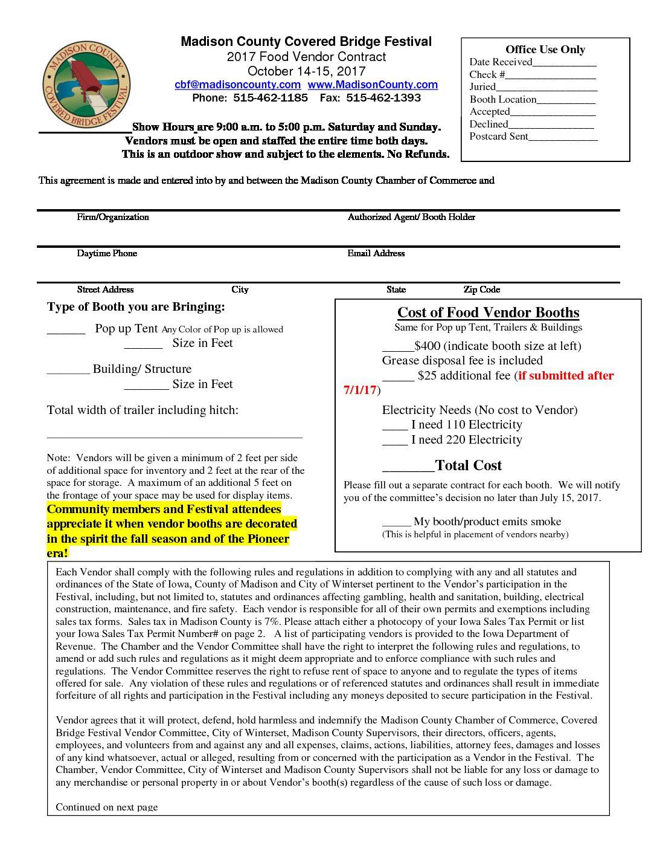 2017 Food Vendor Application Madison County Iowa Chamber