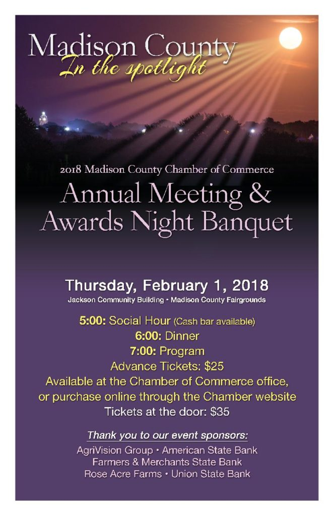 February 1, 2018: Annual Meeting<br>& Awards Night Banquet<br>5:00pm