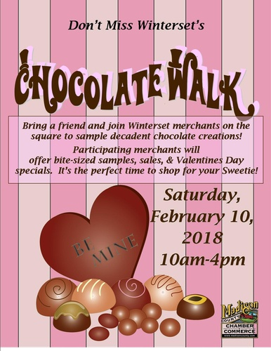February 10, 2018: Winterset Chocolate Walk <br>10am to 4pm