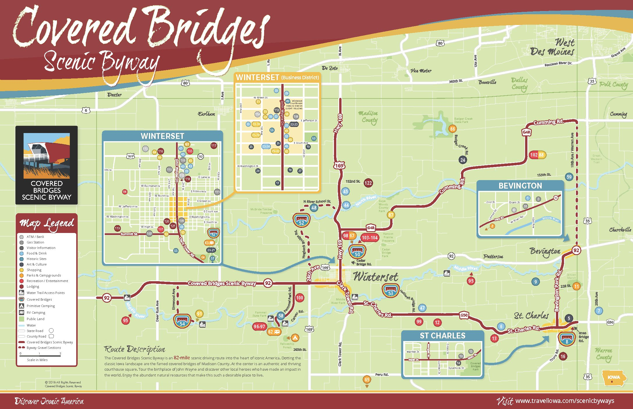 Covered Bridges Scenic Byway Tearsheet Map Madison County Iowa